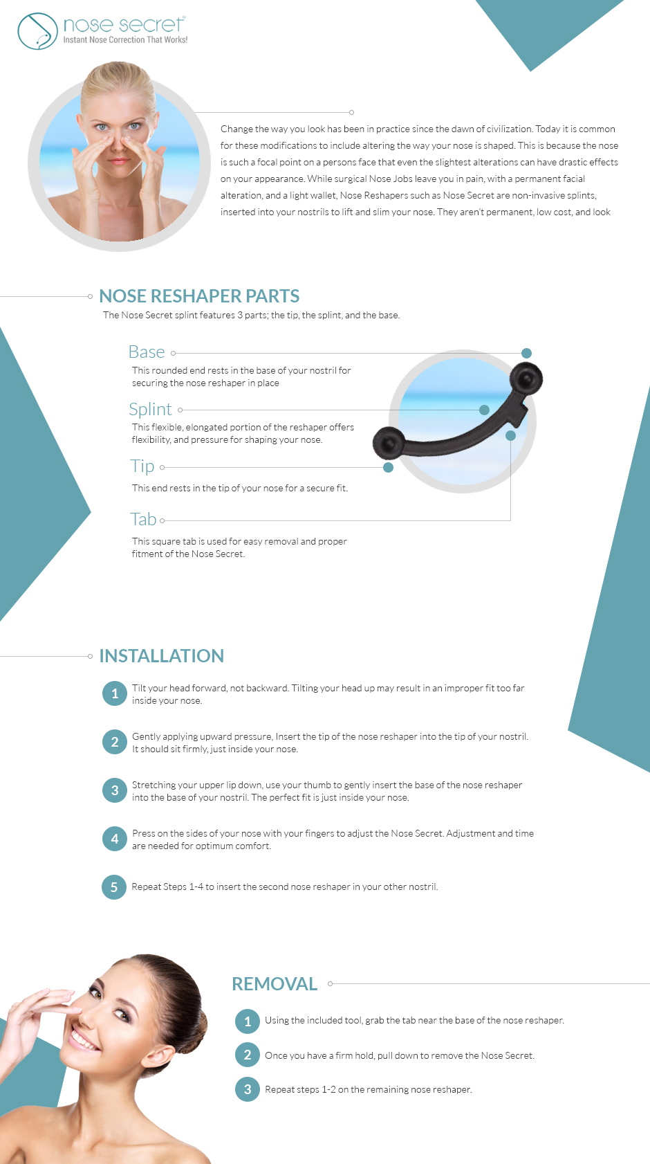 Proper Nose Secret, nose reshaper, Installation and Removal Infographic.